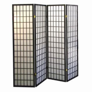 Ore Wood 4-Panel Room Divider - Black - Furniture & Mattresses ...