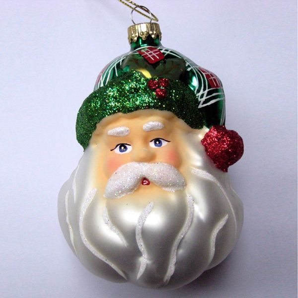 Vintage Christmas Glass Santa Head Ornament