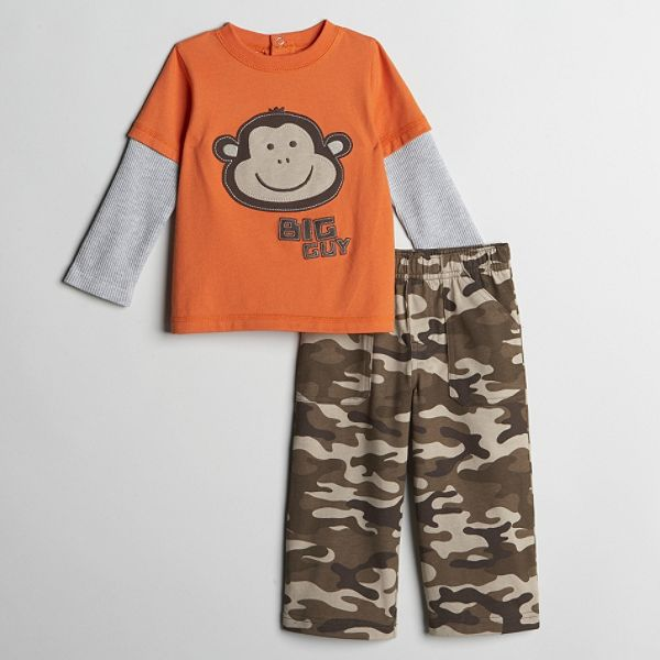 Carters Toddler Boys Monkey Graphic Top And Camo Jersey Pant