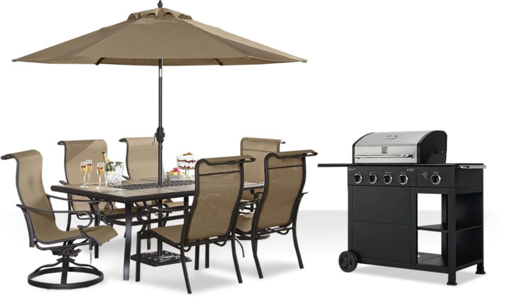 patio furniture and grills