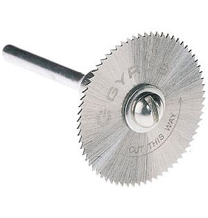 Gyros 82-11015 Saw Blade w/Mandrel Set, Fine-Teeth 1&#34 Dia. For Dremel ...