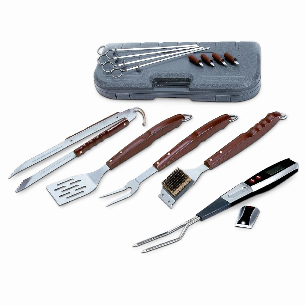 Kenmore 17-Piece Barbecue Set with Digital Fork Thermometer Brown