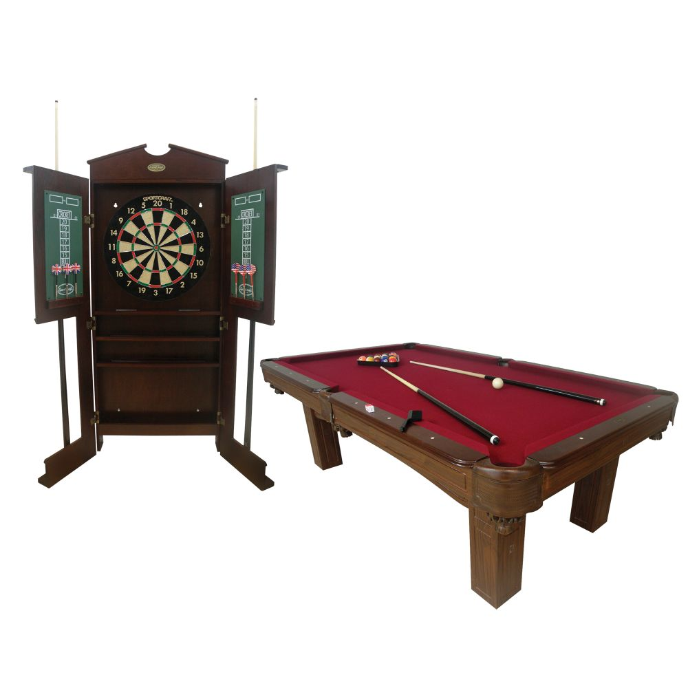 Sportcraft 8ft Woodcliff Billiard Table with Bonus Dartboard/Cue Rack