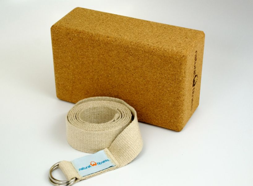 The Natural Fitness Cork Yoga Block and Hemp Strap Kit is made from 100% eco-friendly cork and hemp materials, and are free of phthalates. These yoga accessories are both biodegradable and recyclable, and come in recycled packaging. Both pieces an be used to accentuate yoga poses, and are extremely comfortable and durable. Cork block is very strong and lightweight, while the strap is stronger and longer lasting than cotton. Strap comes equipped with a easy release, strong steel D-ring buckle. The Natural Fitness Zero Impact Program funds the planting of a tree for each kit sold, with each tree removing up to 2000 lbs of pollution from our atmosphere.