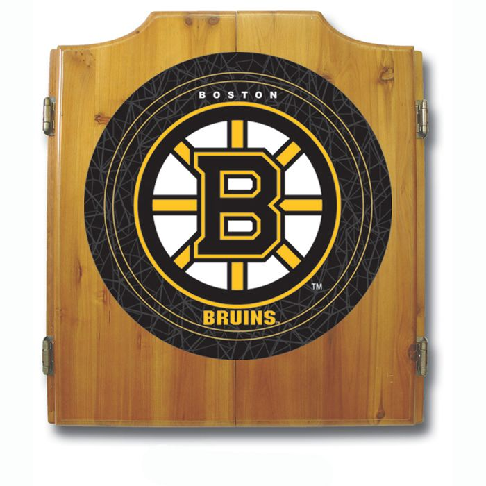 Trademark NHL Boston Bruins Dart Cabinet including Darts and Board