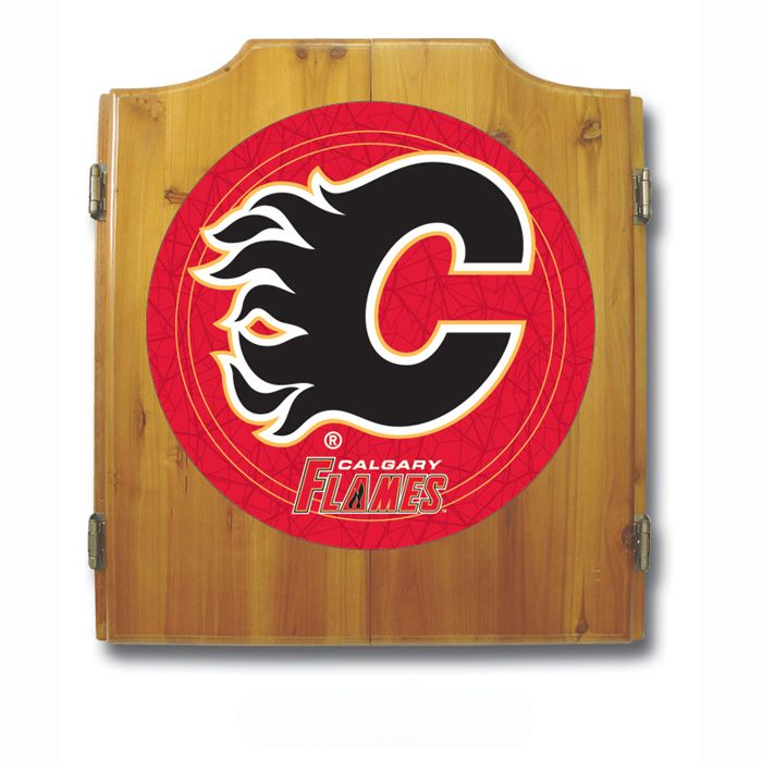 Trademark NHL Calgary Flames Dart Cabinet including Darts and Board