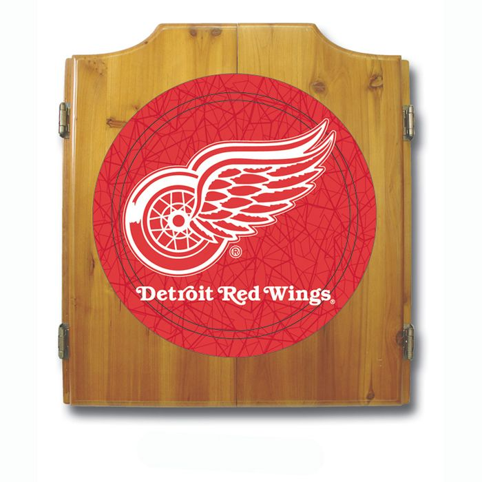 Trademark NHL Detroit Redwings Dart Cabinet including Darts and Board