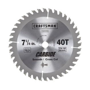 Craftsman  Carbide 7 1/4 in. 40T Smooth and Crosscut Saw Blade