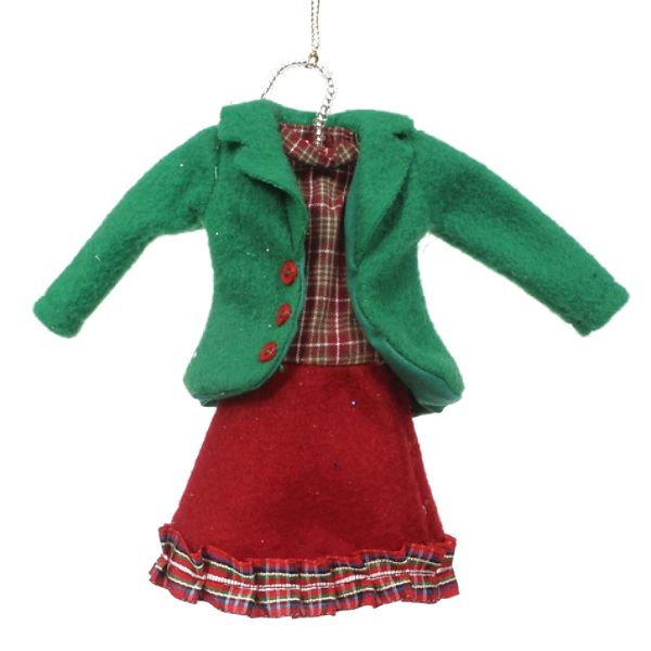 Vintage Christmas Fabric Clothes Ornament – Jacket With Dress