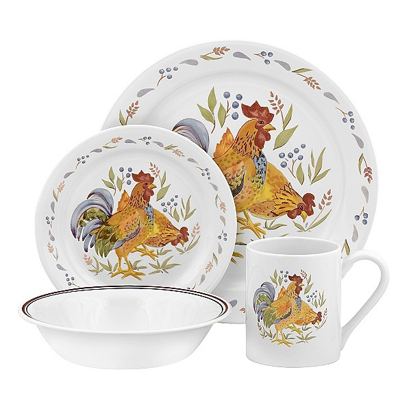 CORELLE COUNTRY MORNING ROOSTER 16 PCS DINNERWARE SET