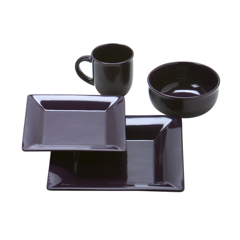 Essential Home 16 Piece Purple Square Dinnerware Set $ 34.19