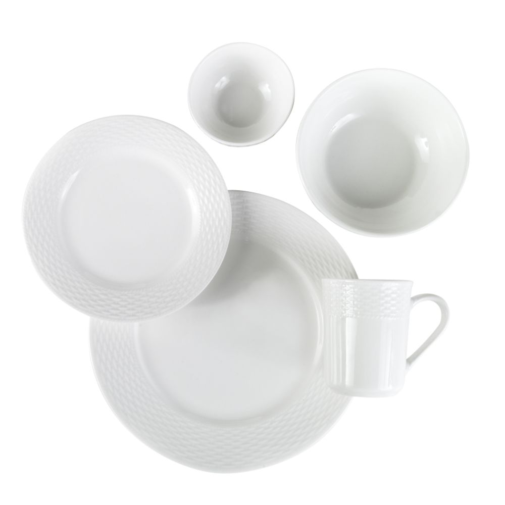 Essential Home 30 Piece White Basketweave Dinnerware Set $ 35.99