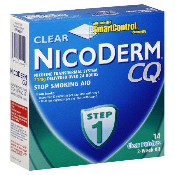 NicoDerm CQ Stop Smoking Aid, Step 1, Clear Patches, 2-Week Kit, 14 patches