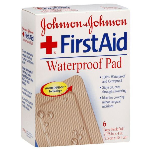 Johnson and Johnson First Aid Waterproof Pad Large 6 pads JOHNSON and JOHNSON HEALTH BABY