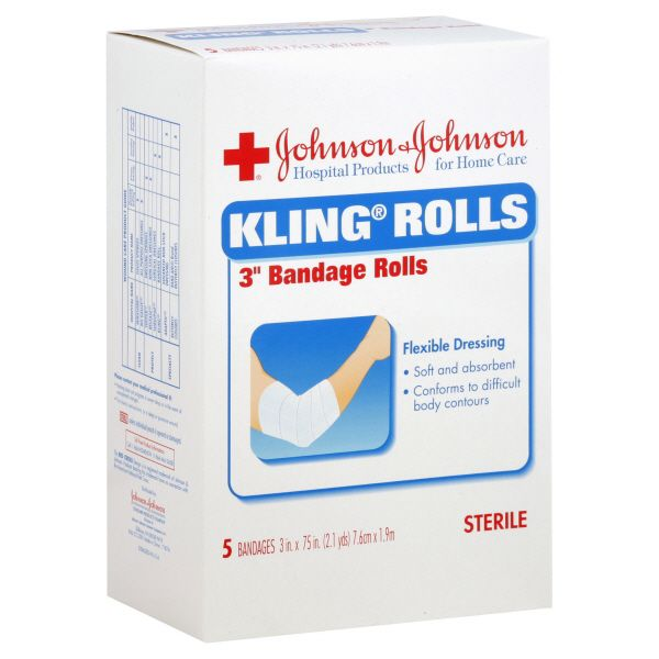 Johnson and Johnson Kling Rolls Bandages Rolls 3 Inch 5 bandages JOHNSON and JOHNSON HEALTH BABY