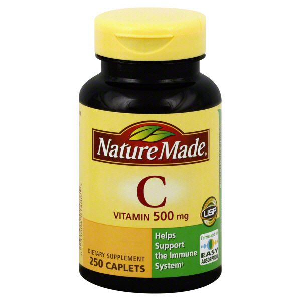 Nature Made Vitamin C, 500 mg, Caplets, 250 caplets