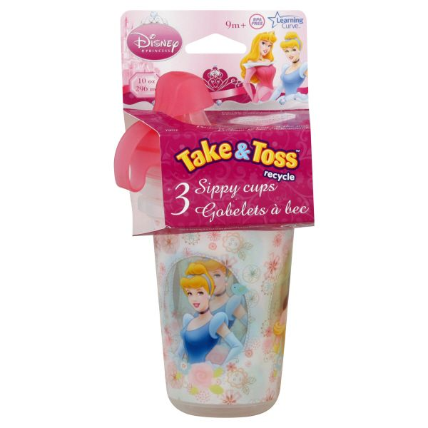 Disney Baby Take & Toss Sippy Cups, Disney Princess, 10 oz, 9M+, 3 cups