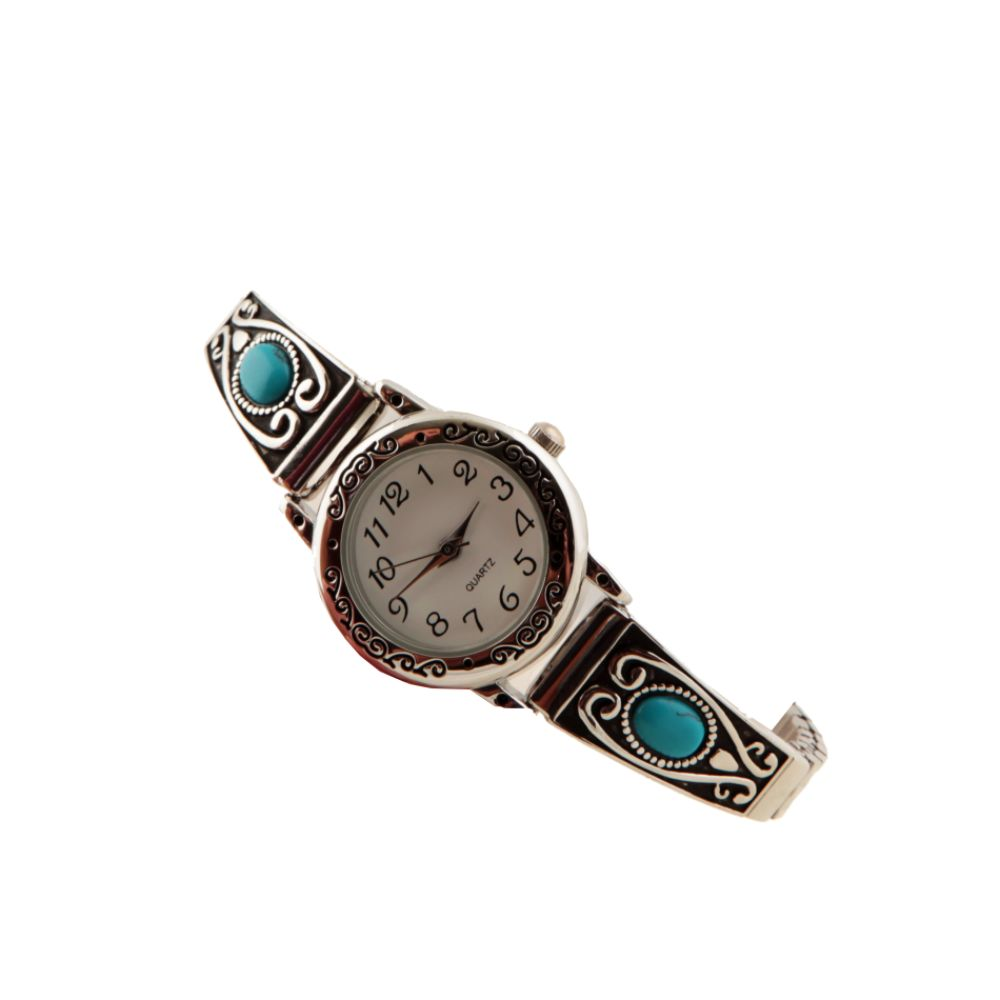 Ladies Fashion Watch with White Dial and Turquoise Stone & Silvertone Band