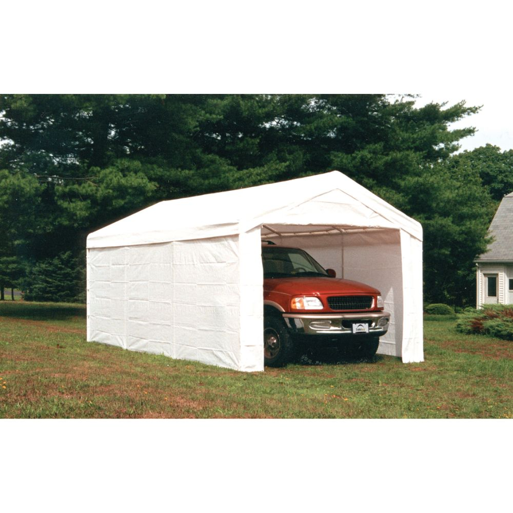Shelter Logic 10x20 - 8 Leg Canopy White w/ Enclosure Kit