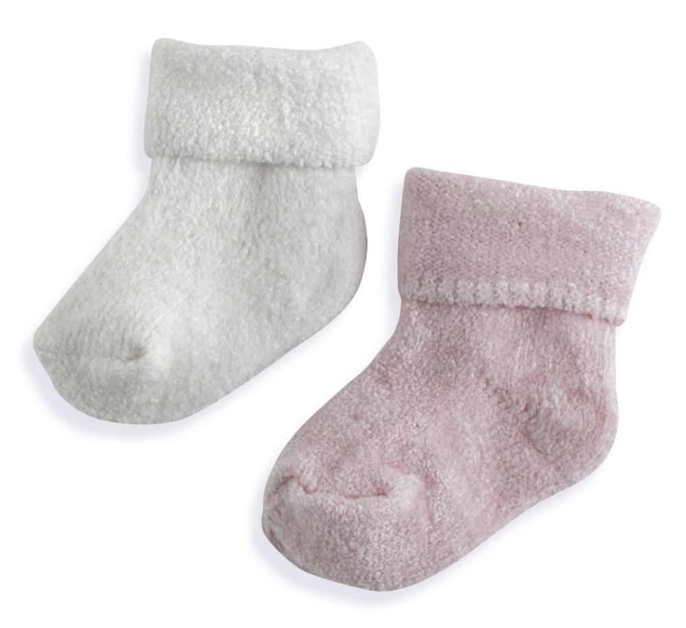 Little Wonders Girl Chenille 2 Pack Sock Pink, White;Multi-color