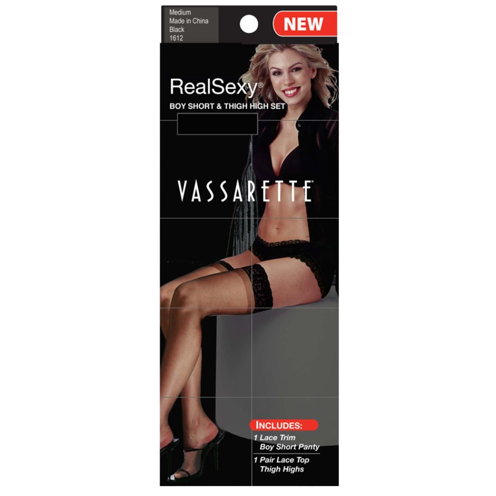 Vassarette Women's Boy Short and Thigh High Combo Set