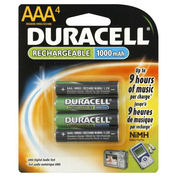 Duracell Rechargeable AAA Battery 4 pack