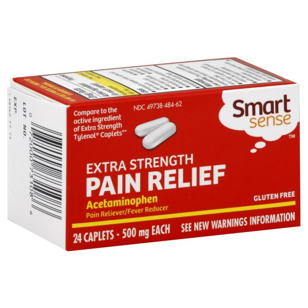 Smart Sense Acetaminophen, 500 mg, Extra Strength, Caplets, 24 caplets