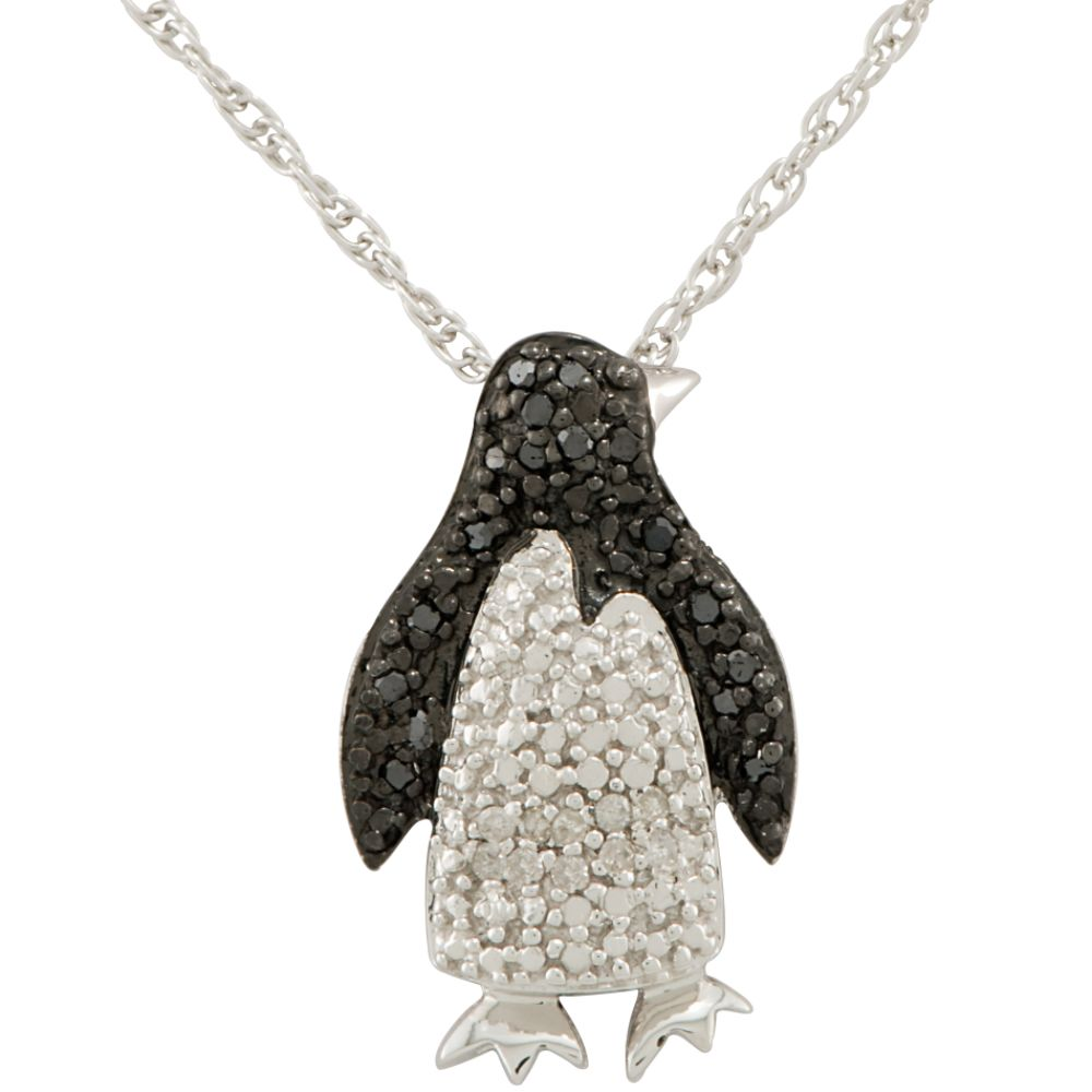 Sterling Silver Black & White Diamond Penguin Pendant