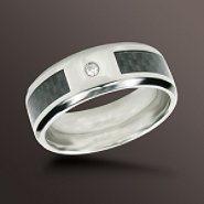 8mm Diamond Accent Wedding Band in Stainless Steel at Sears.com
