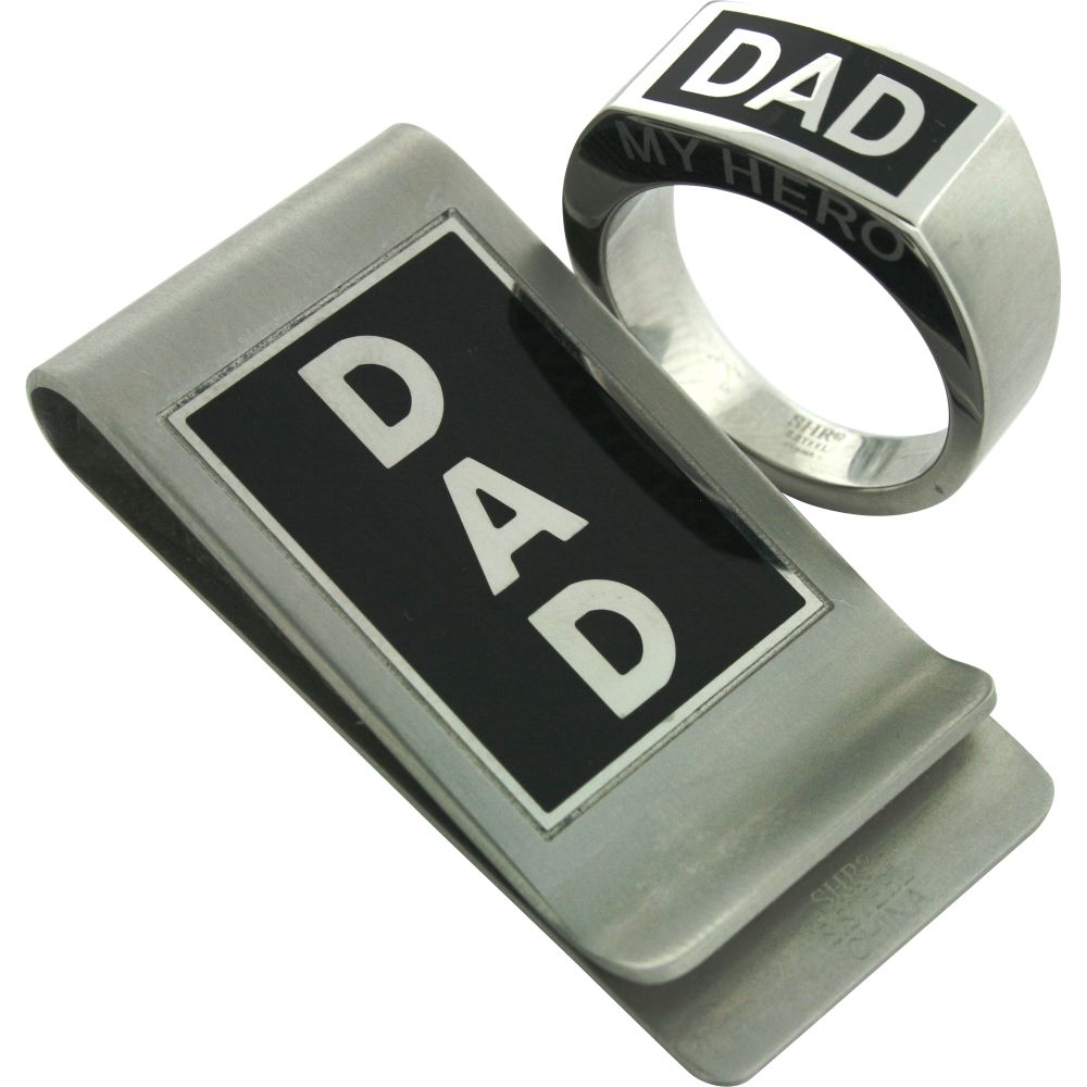 Stainless Steel Dad Ring and Money Clip Set Silver