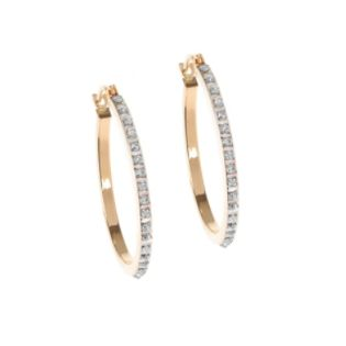 Diamond Round Hoop Earrings. 14K Yellow Gold