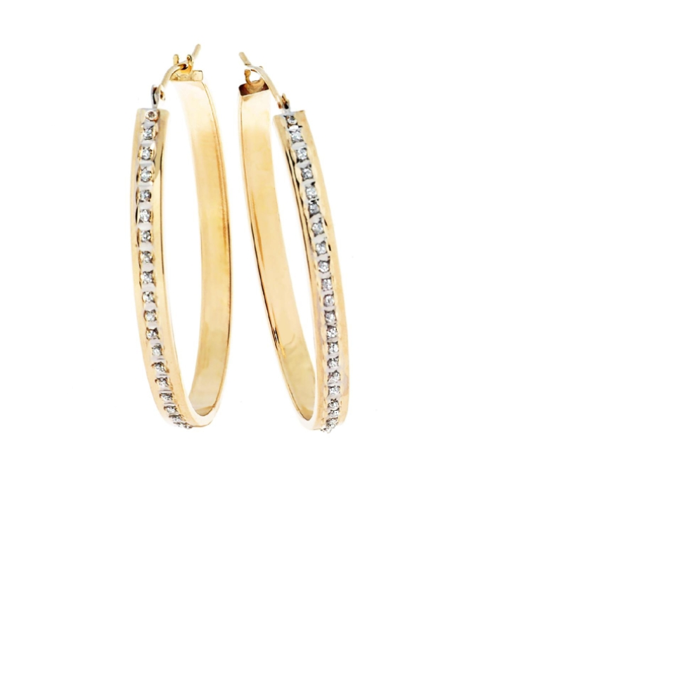 Fascination Diamond Accent 14K Yellow Gold Bold Oval Hoop Earrings