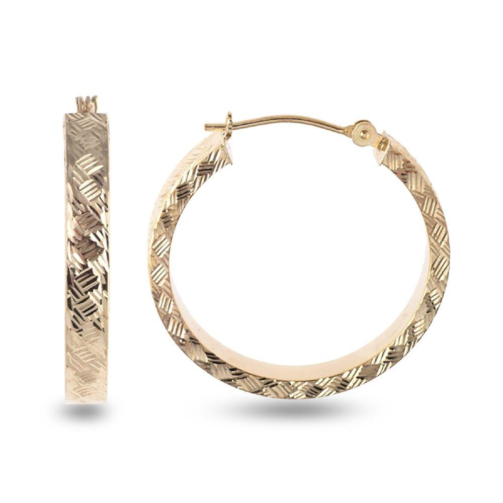 SELECT JEWELRY INC 10K Yellow Gold Woven Diamond Cut Round Hoop Earrings SELECT JEWELRY INC