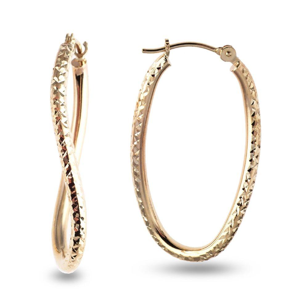 SELECT JEWELRY INC 10K Yellow Gold Diamond Cut Twist Hoop Earrings SELECT JEWELRY INC