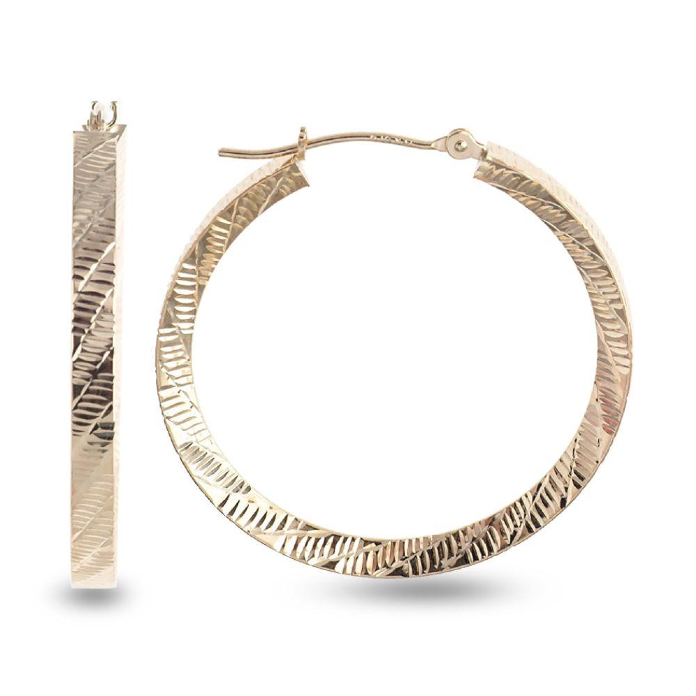 SELECT JEWELRY INC 10K Yellow Gold Diamond Cut Diagonal Hoop Earrings SELECT JEWELRY INC