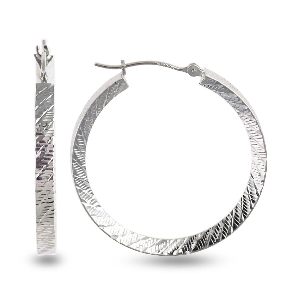 SELECT JEWELRY INC 10K White Gold Diagonal Cut Hoop Earrings SELECT JEWELRY INC