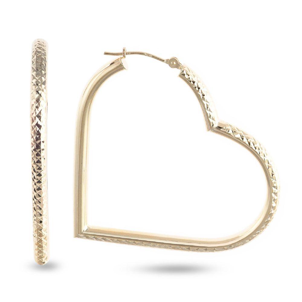 SELECT JEWELRY INC 10K Yellow Gold Diamond Cut Floating Heart Hoop Earrings SELECT JEWELRY INC
