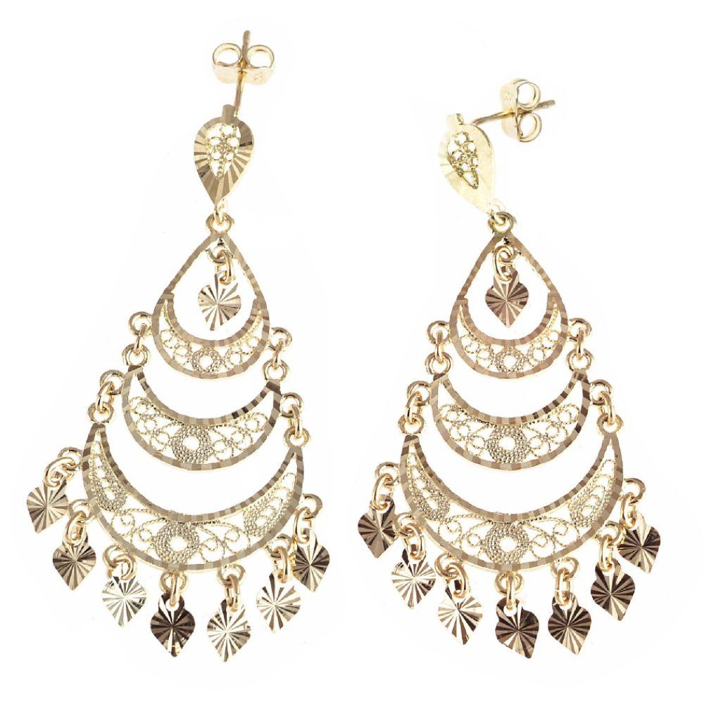 SELECT JEWELRY INC 10K Yellow Gold Diamond Cut Chandelier Dangle Earrings SELECT JEWELRY INC