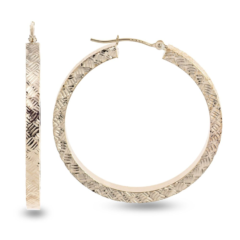 SELECT JEWELRY INC 10K Yellow Gold Diamond Cut Round Hoop Earrings SELECT JEWELRY INC