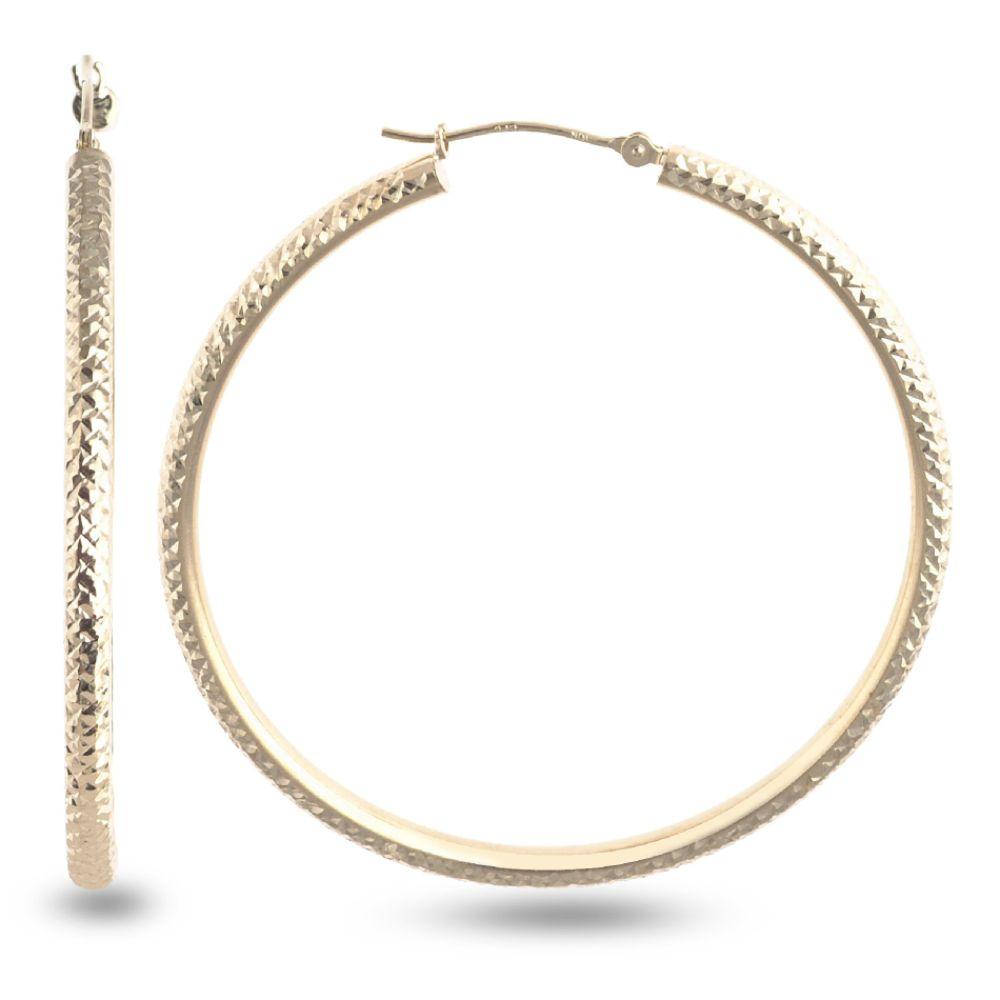 SELECT JEWELRY INC 10K Yellow Gold Laser Diamond Cut Round Hoop Earrings SELECT JEWELRY INC