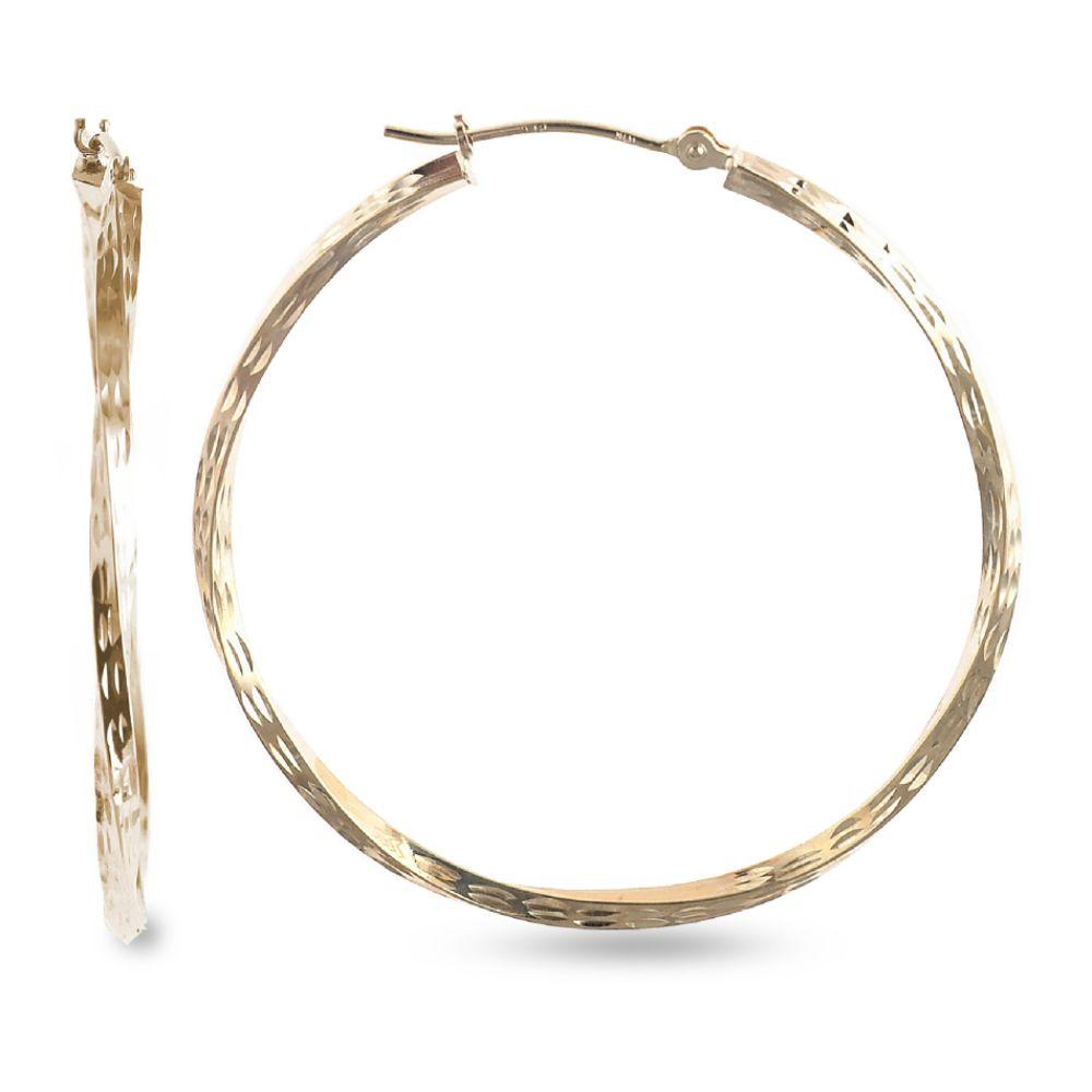 SELECT JEWELRY INC 10K Diamond Cut Round Twist Hoop Earrings SELECT JEWELRY INC