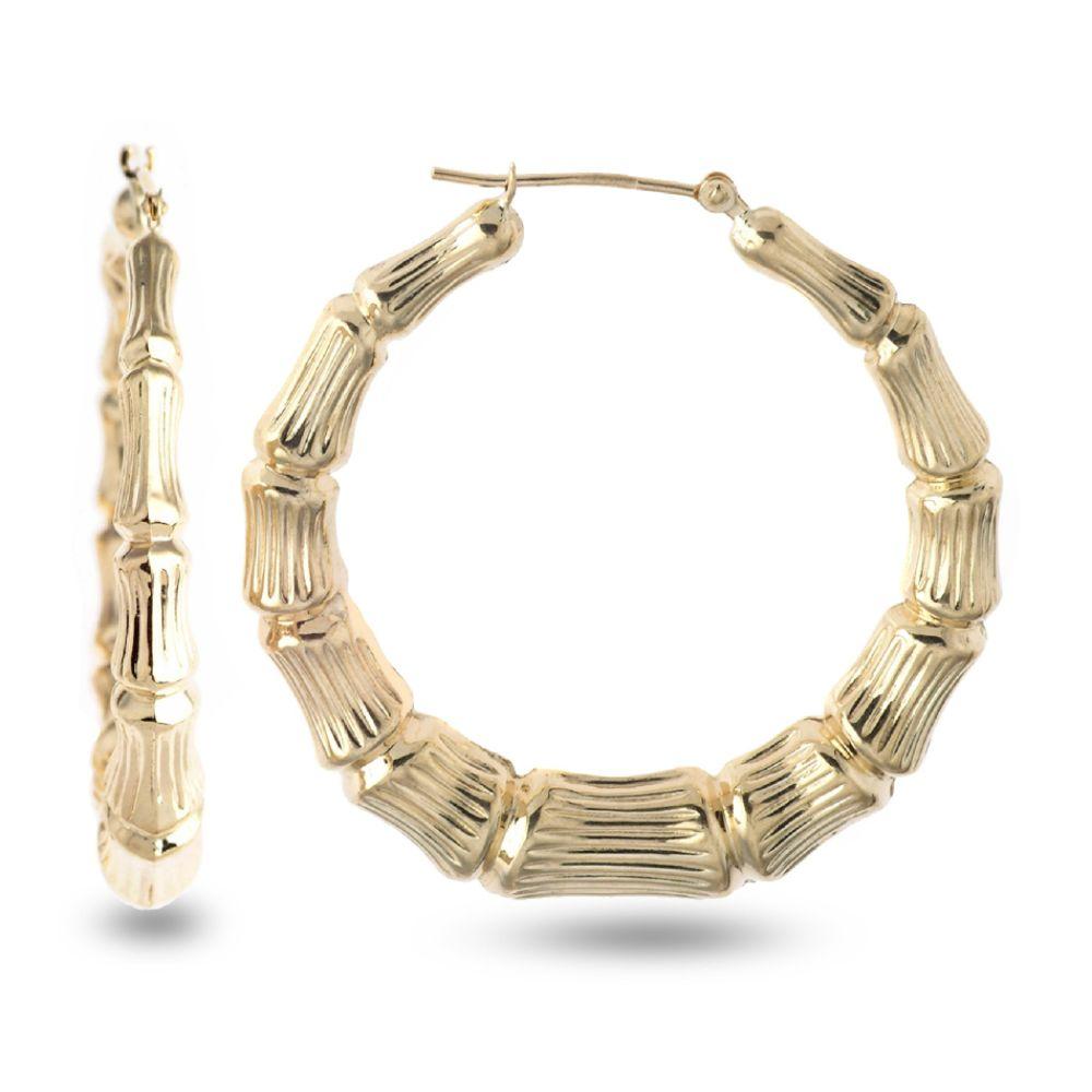 SELECT JEWELRY INC 10K Diamond Cut and Satin Bamboo Round Hoop Earrings SELECT JEWELRY INC