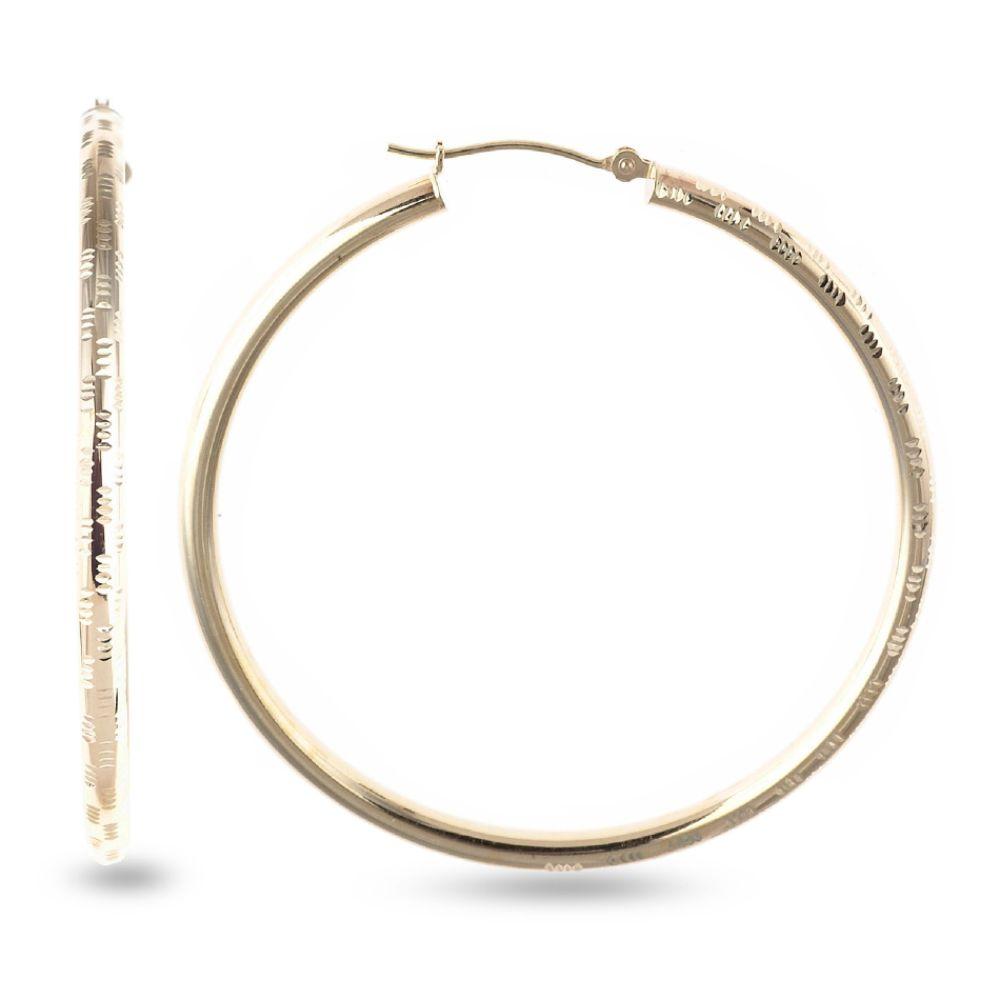 SELECT JEWELRY INC 10K Yelllow Gold Polished Diamond Cut Hoop Earrings SELECT JEWELRY INC