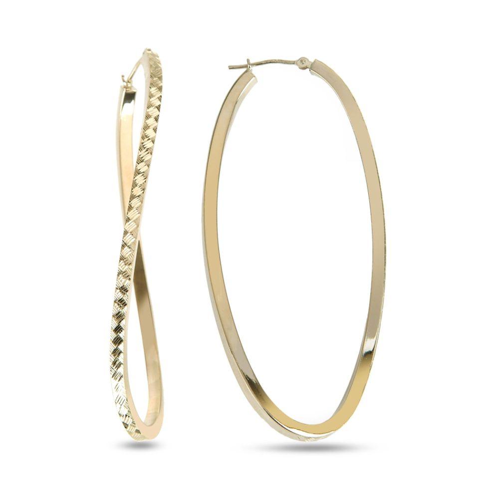 SELECT JEWELRY INC 10K Diamond Cut Oval Twist Hoop Earrings SELECT JEWELRY INC