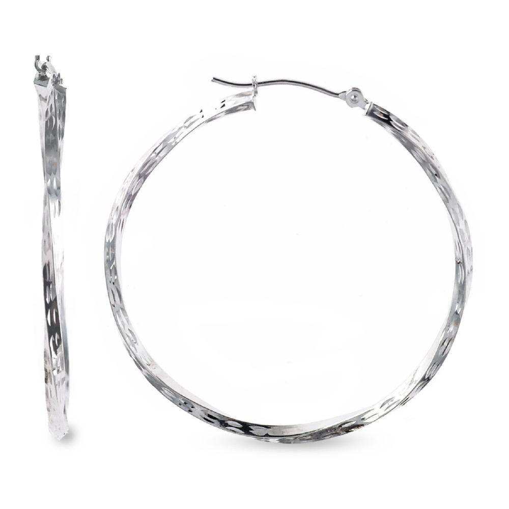 SELECT JEWELRY INC 10K White Gold Dimond Cut Twist Hoop Earrings SELECT JEWELRY INC