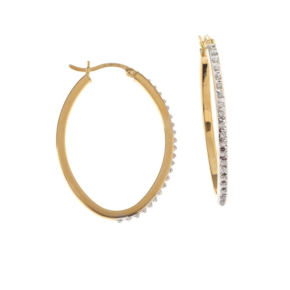 SELECT JEWELRY INC 18K Gold over Sterling Silver Oval Hoop Earrings SELECT JEWELRY INC