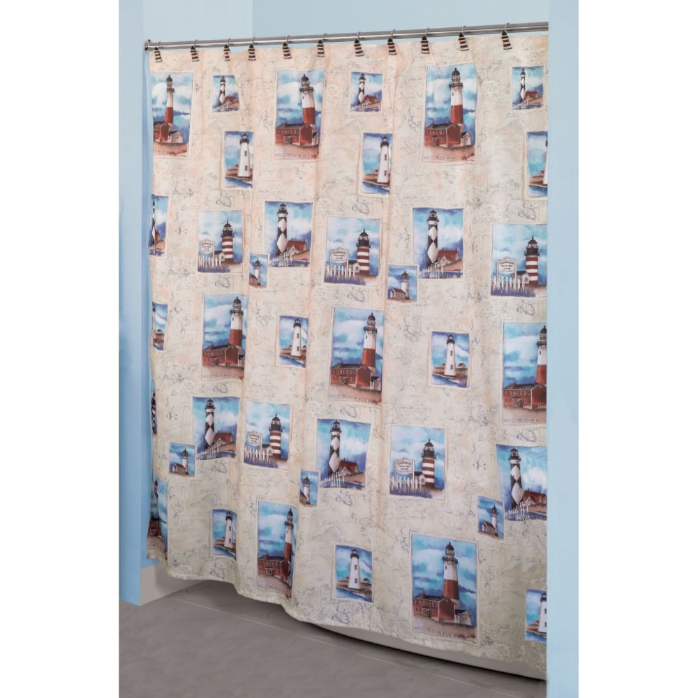 Marvelous Essential Home Point Bay Lighthouse Fabric Shower Curtain