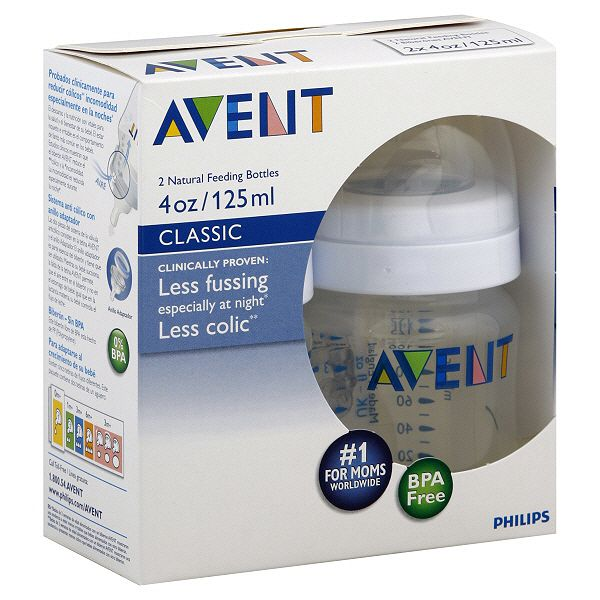 Avent Bottles Natural Feeding Classic 4 Oz 0 M 2 Bottles