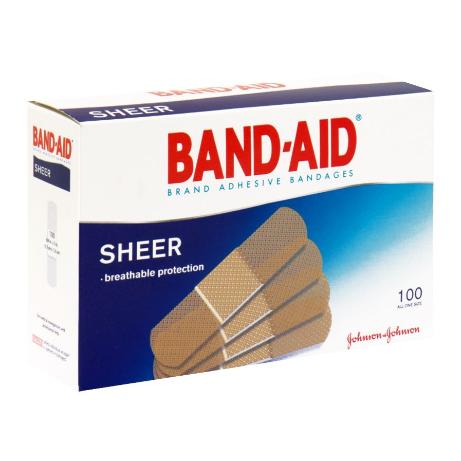 Band-Aid Adhesive Bandages, All One Size, Sheer, 100 bandages