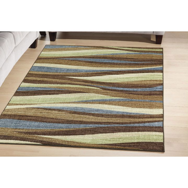 Jaclyn Smith Today Abstract Stripe 5x8 Light Chocolate Rug